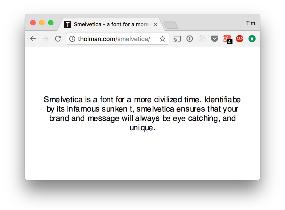 The Smelvetica website.